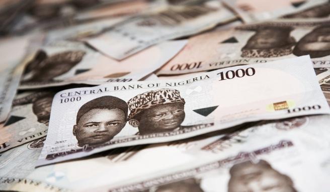 1000 naira bills, Nigerian currency.